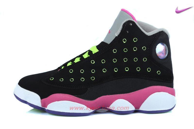 e38577cfa229 Women Nike · Shoes Outlet · Black Green Pink AIR JORDAN 13 RETRO Venom  Green Outlet Stores OSBQVW