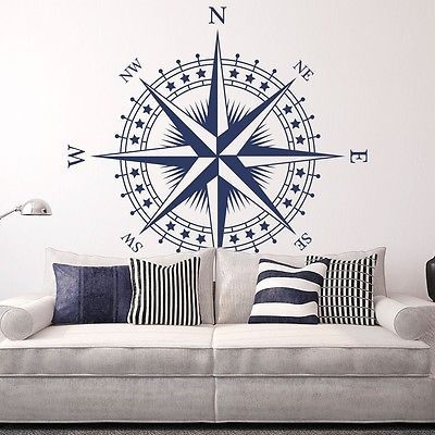 """Photo of Compass Rose """"The Patriot"""" Vinyl Wall/Ceiling Decal – nautical room sticker K625  