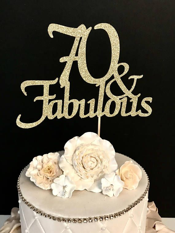 ANY NUMBER Gold Glitter 70th Birthday Cake Topper, 70 and ...