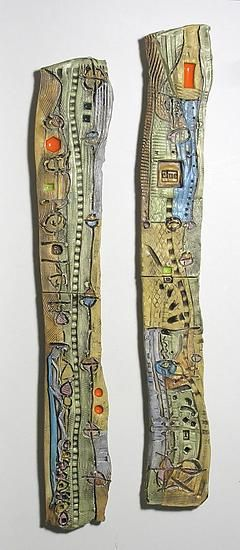 Abstract Space Slender Columns - Ceramic Wall Art by Janine Sopp | slabs ofearthenware  clay, hand drawn and embossed with textures