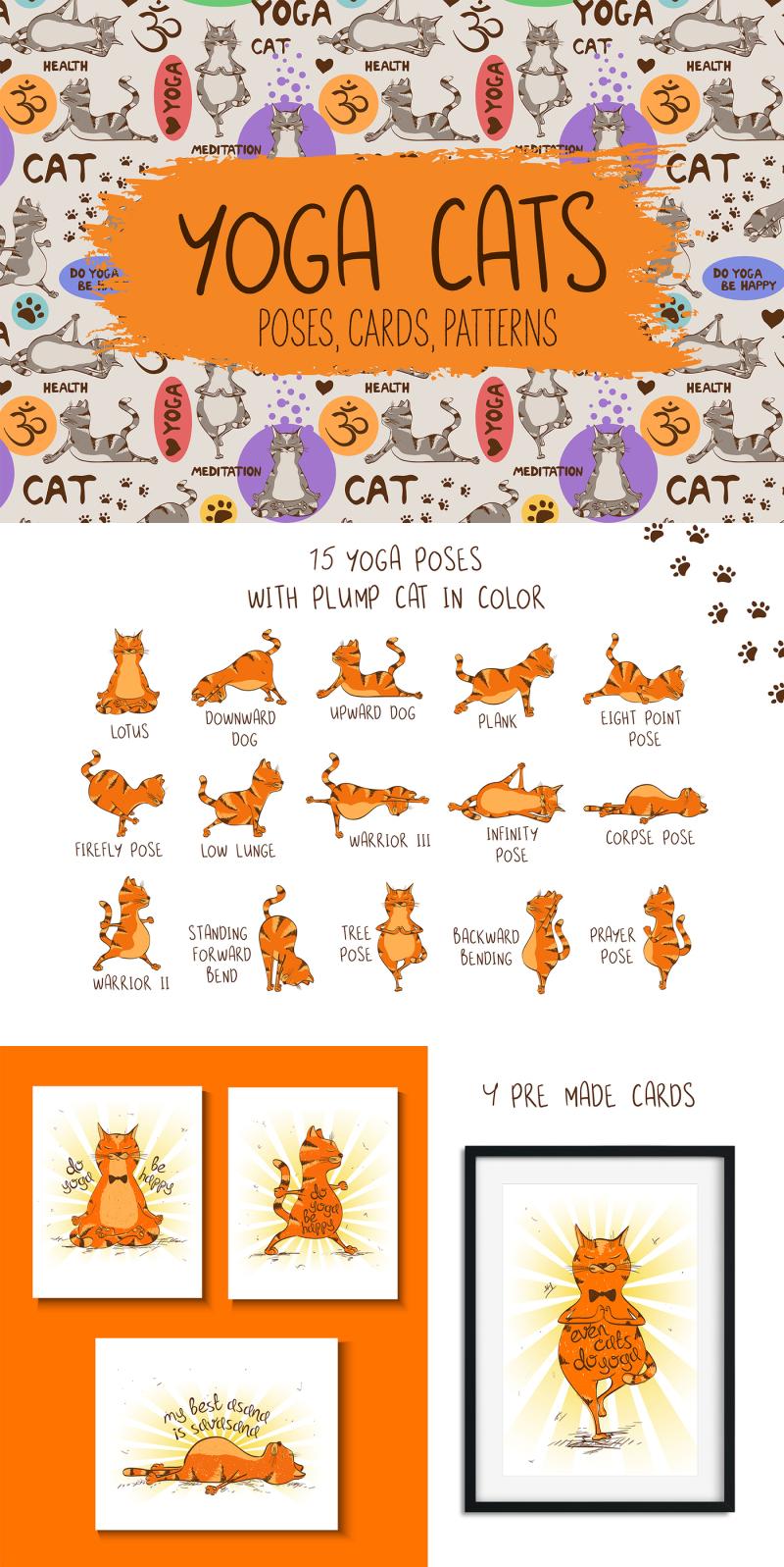 Yoga Cats Illustration Clip Art For Design Cat Yoga Logo Design Art Yoga Logo Design