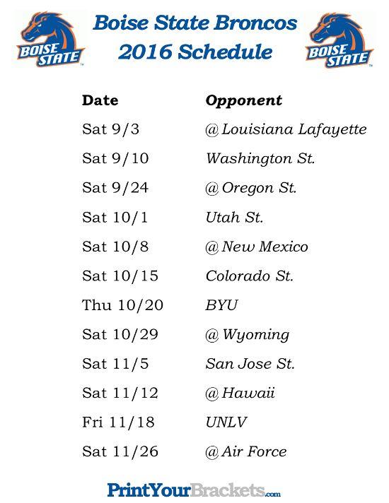 Printable Boise State Broncos Football Schedule 2016 Printable