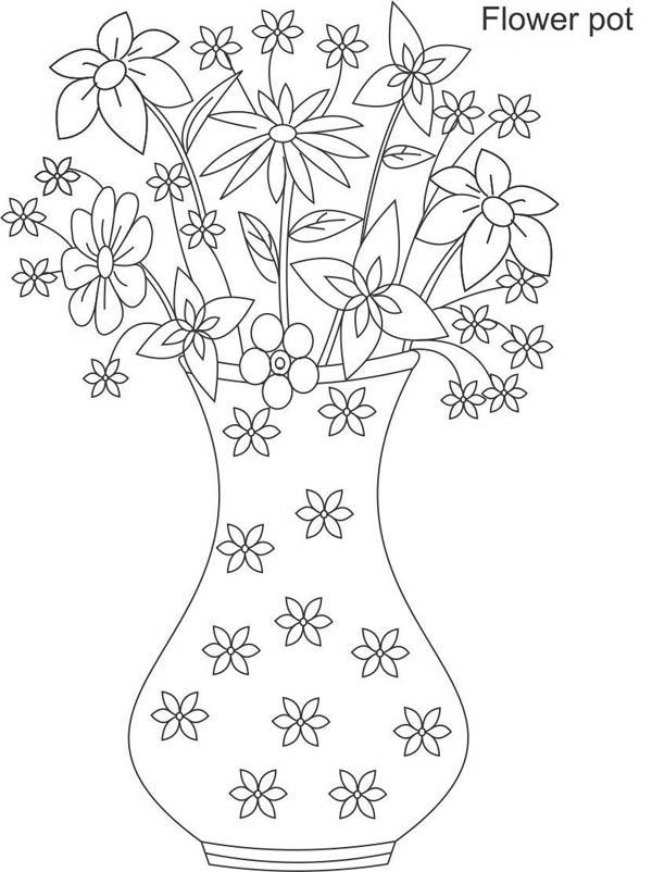 Flower Vase Full Of Beautiful Flower Coloring Page Coloring Sky Flower Coloring Pages Paper Art Diy Flower Vases
