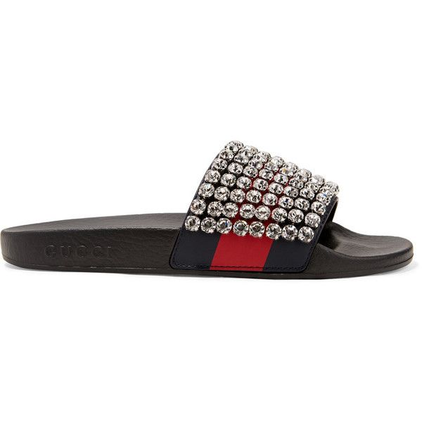34ecb7cf3c0 Gucci Pursuit crystal-embellished leather and rubber slides ( 1