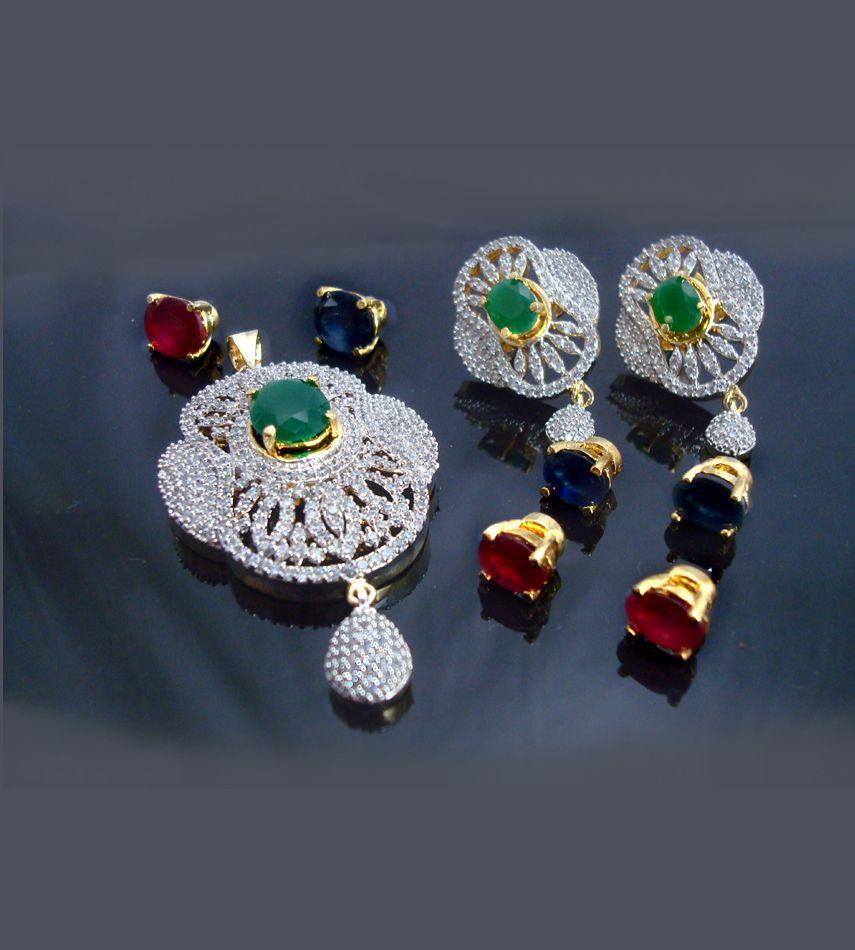 fcf19c6e8 CHA55, Daphne Changeable Stone Pendant Earrings for Women ...