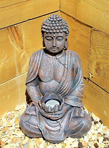 Grande Statue De Bouddha 39cm Energie Solaire Effet Pierre Pour