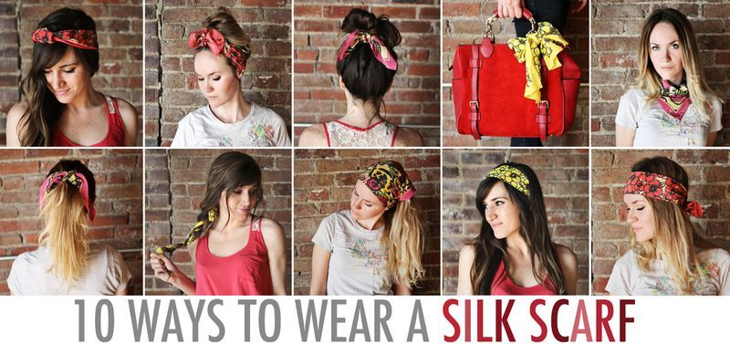 10 Ways To Wear A Silk Scarf 2nd Day Hair How To Wear Scarves Style