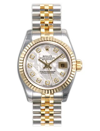 4404a1f44e6 Rolex Datejust Mother of Pearl Diamond Dial Jubilee Bracelet Two Tone Ladies  Watch 179173MDJ