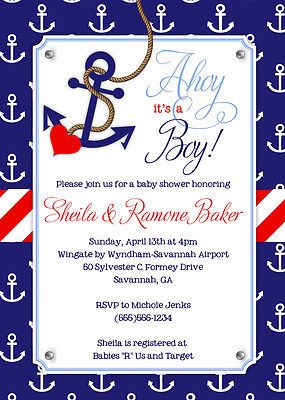 Nautical Themed Baby Shower Invitations With Anchor Print