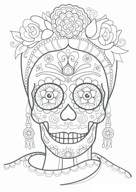 Sugar Skull Con Ornamenti Disegni Motivi Floreali Disegni Difficili Da Colorare Disegni Di Mandala Da Colorare Libri Da Colorare Disegno Di Mandala