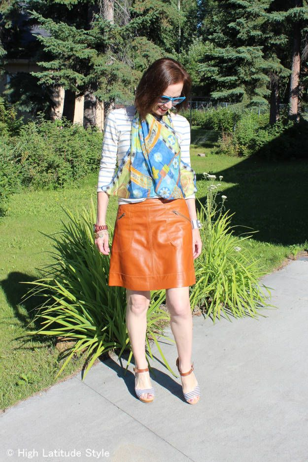 #fashion-over-40 #fashion-over50 striped skirt with leather skirt | High Latitude Style | http://www.highlatitudestyle.com