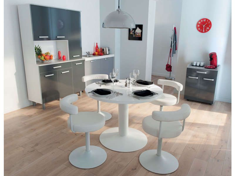 Table ronde FJORD coloris blanc - Vente de Table de cuisine - Conforama Tables De Cuisine