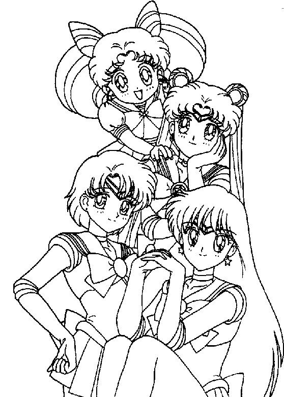 sailor moon and three friends coloring pages