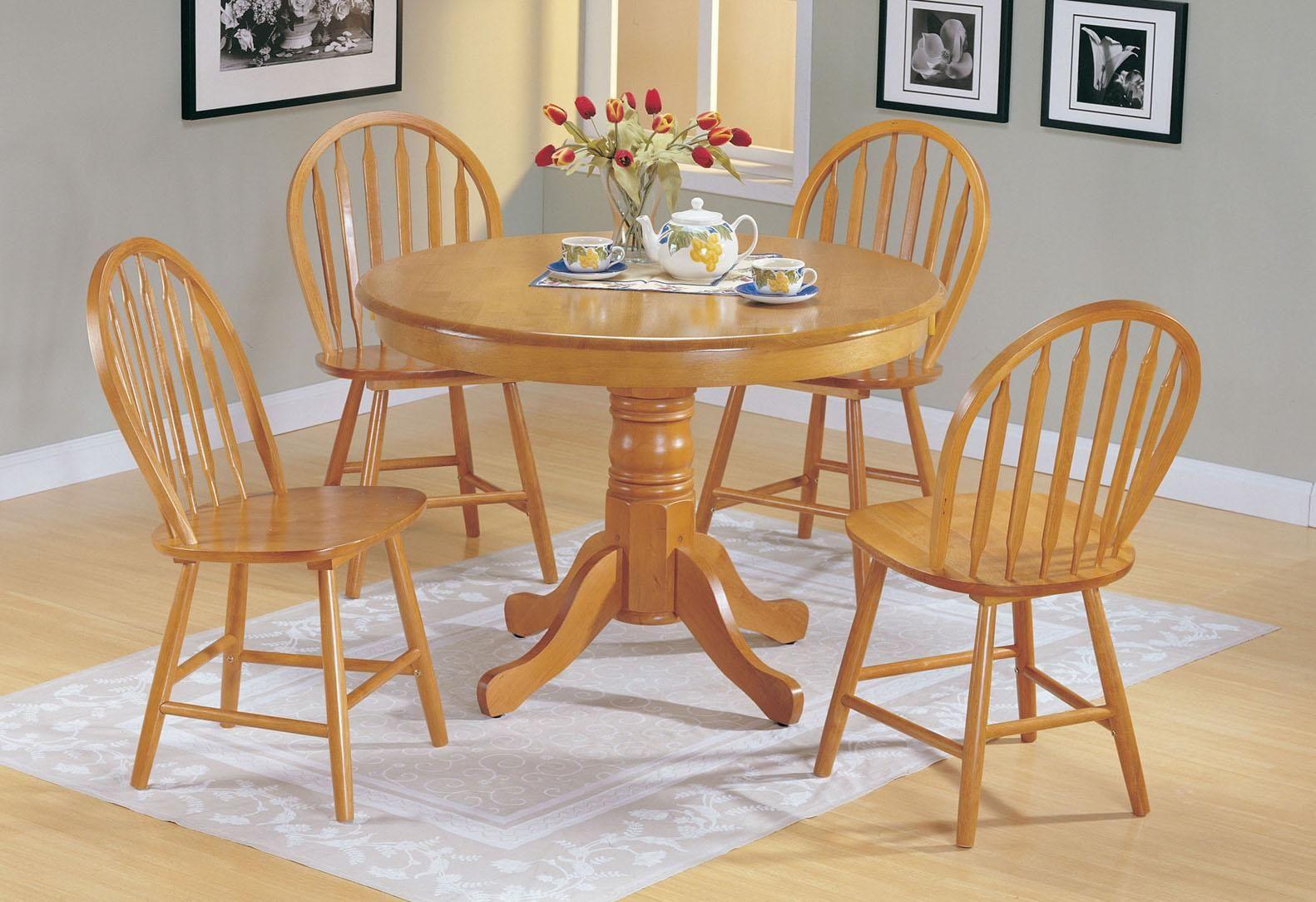Farmhouse oak 5piece round dining set by acme furniture