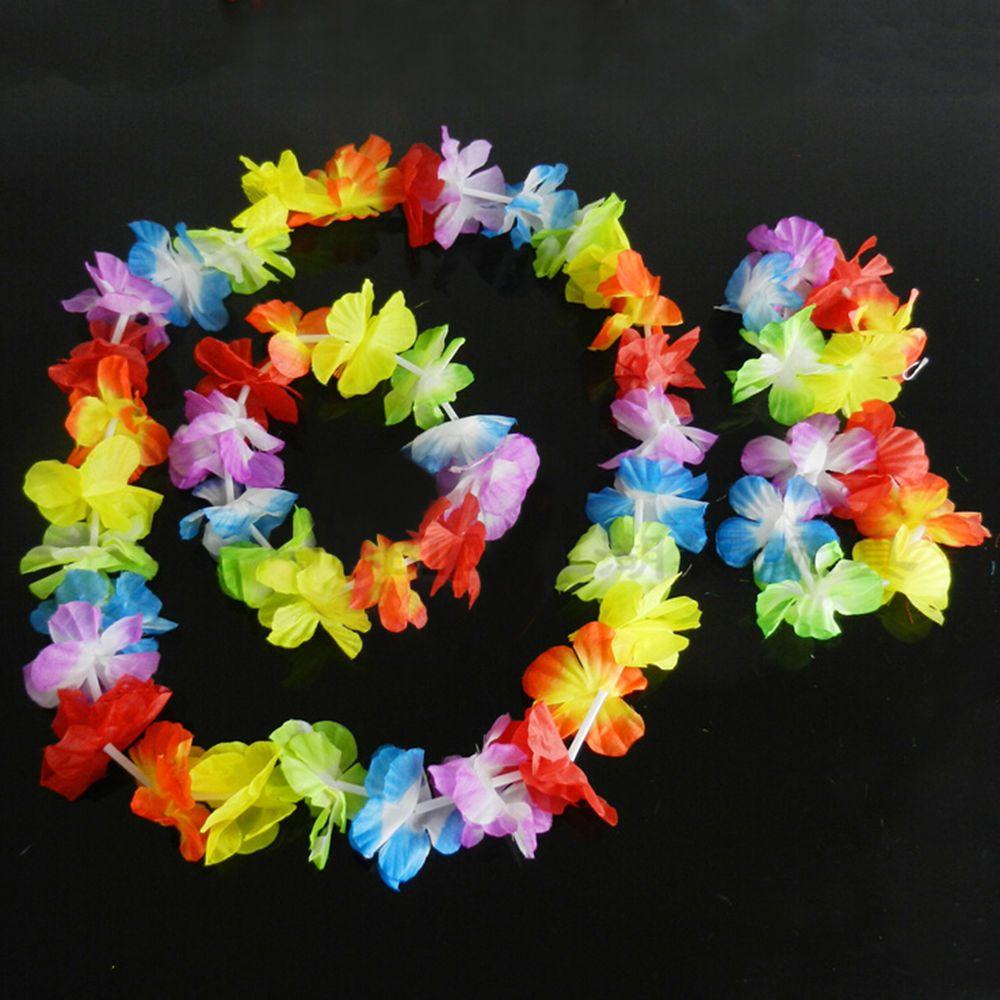 Hawaiian Tropical Hula Luau Lei Flower Garland Set Necklace Headband Wristband