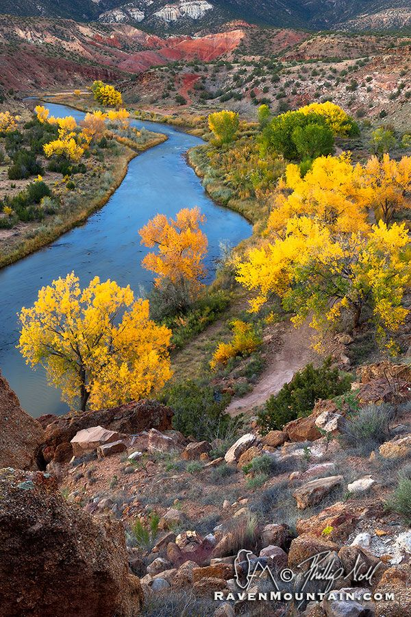 Rio Azul - The Rio Chama takes on a deep blue color in the pre-dawn light on an October morning.  Abiquiu, New Mexico