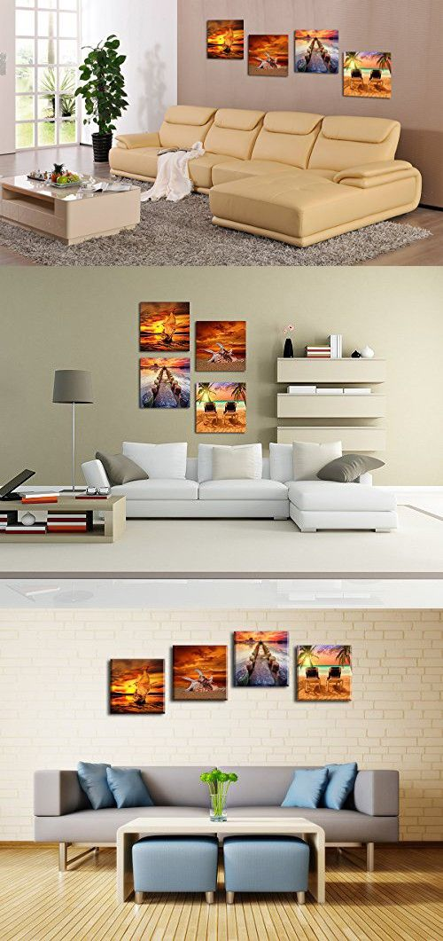 Sunset Seascape Wall Art Decor Sea Beach Seaside Vacation Time ...