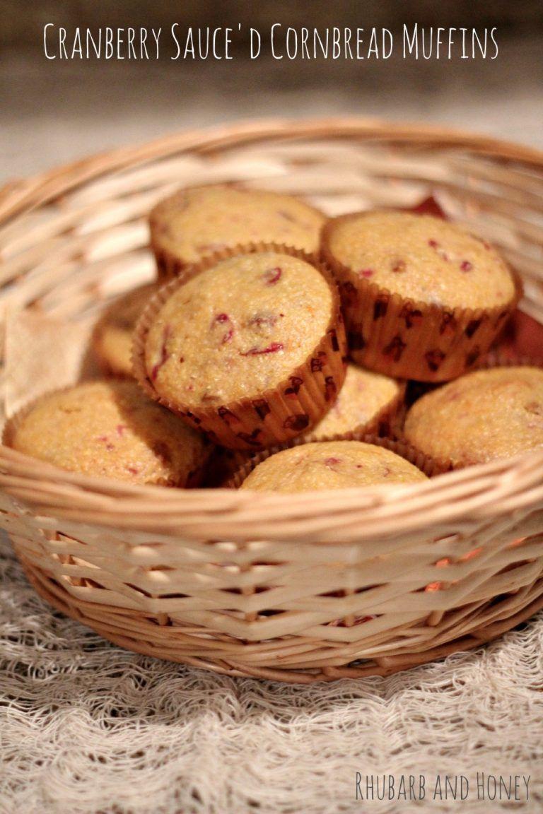 Cranberry Sauce'd Cornbread Muffins for #SundaySupper