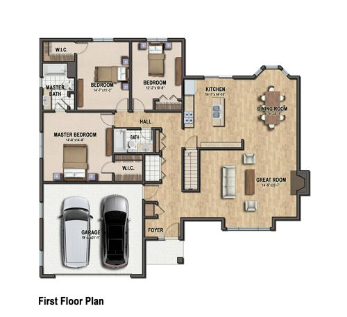 Color floor plan of a single family house floor plans for Single family house plans
