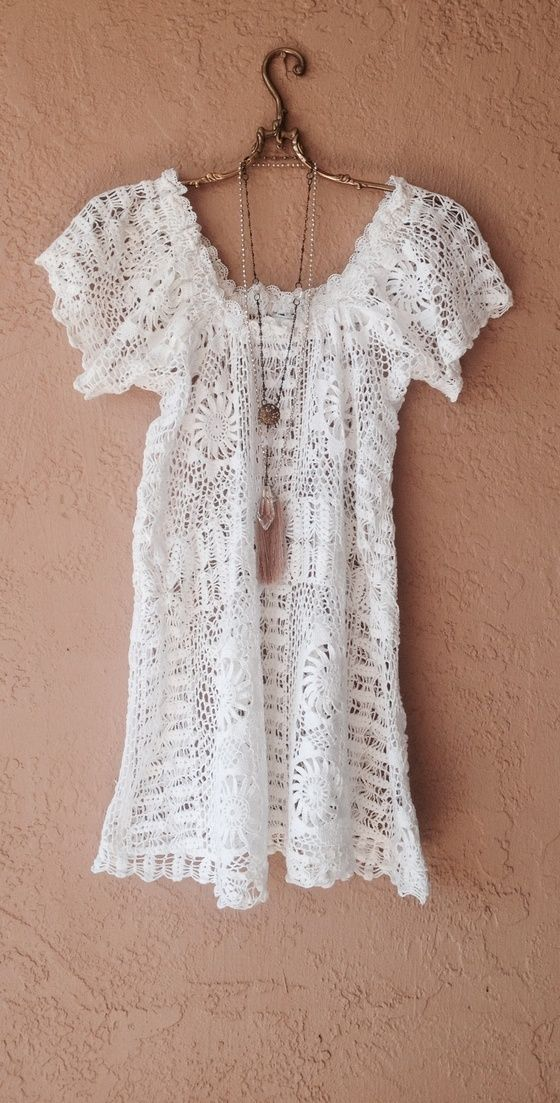 43fcf24ab9 Image of Vintage boho Gypsy hand crochet off shoulder beach dress