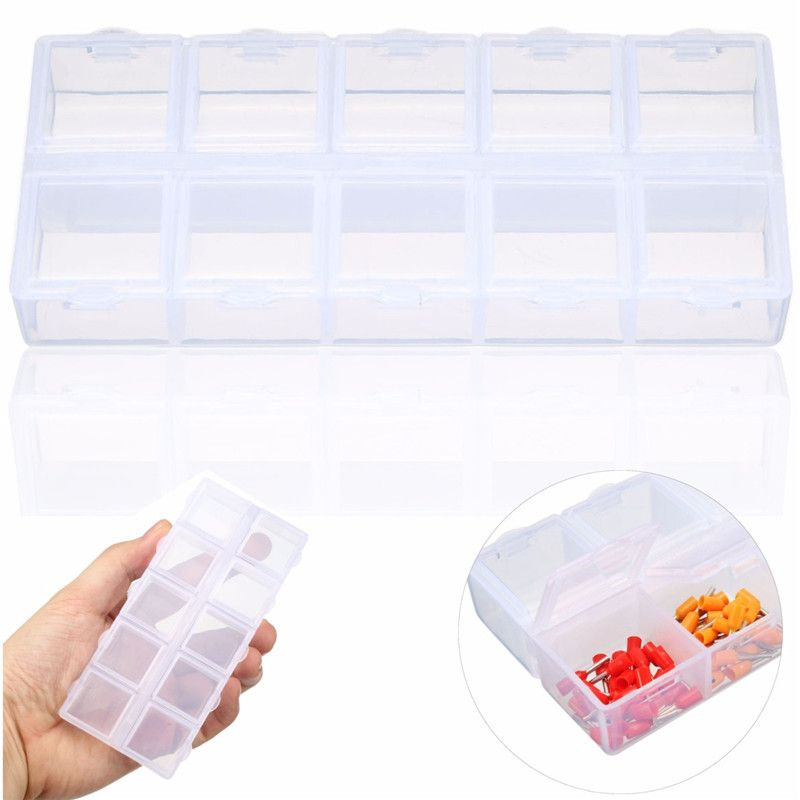 Lados Dobles 10 Slots Joyeria Compartimiento Plastico Caja De Almacenamiento Caja De Herramientas Caja De Plastico Cl Jewellery Storage Tool Case Storage Boxes