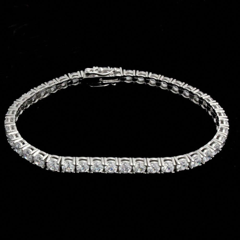 10Ct White Round Diamond 1 Row Men/'s Tennis Bracelet 14k White Gold Finish 8/'/'