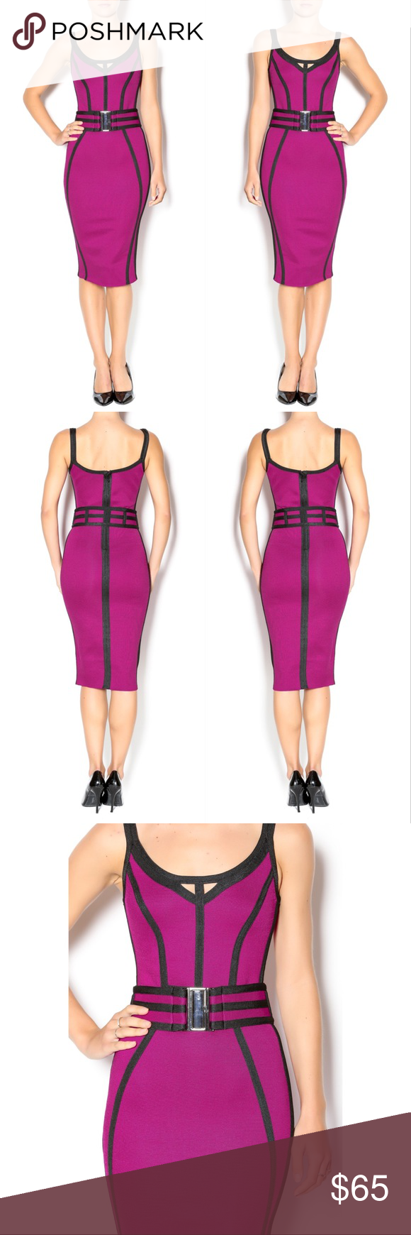 """🌺 Belted Bandage Dress Bandage dress with a belt and black contrast trimming. This dress is stunning and you are sure to look gorgeous in it! Pair with black pumps and a mini handbag.  98% polyester, 2% spandex   Fit is true to size. Model is wearing size S.  Model's height 5'8"""", bust 32"""", waist 25"""", hips 34"""". WOW couture Dresses Midi"""