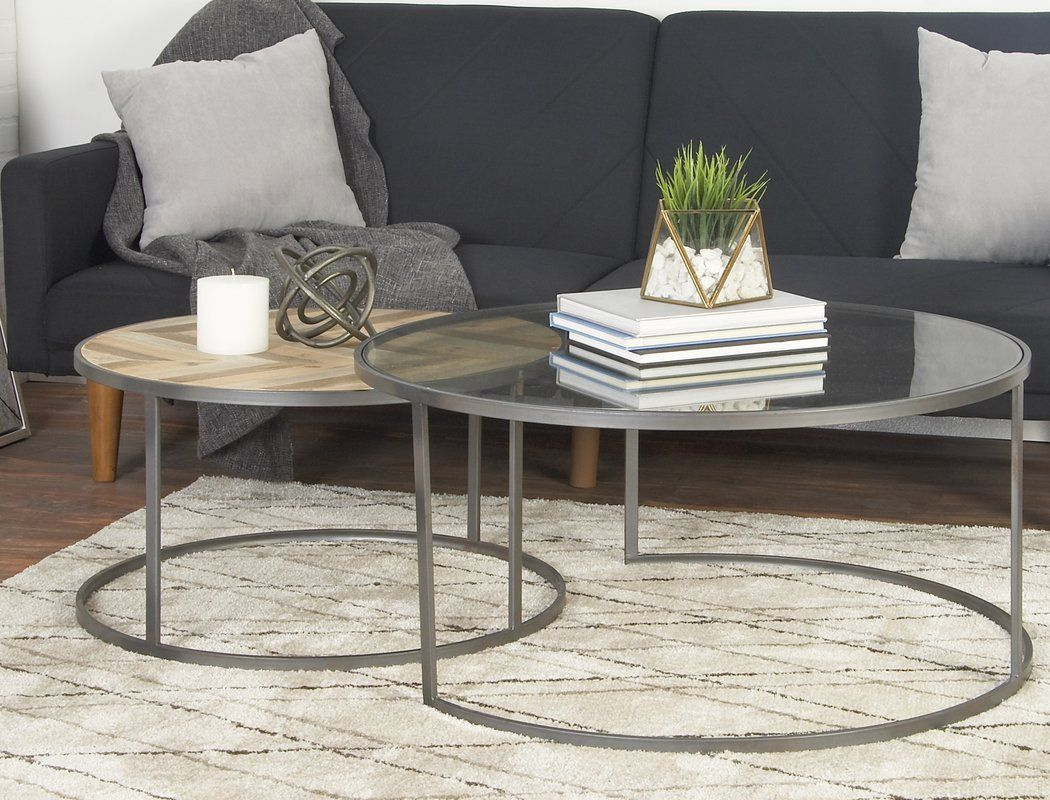 Orkney Contemporary 2 Piece Coffee Table Set Coffee Table Nesting Coffee Tables Round Coffee Table Sets [ 800 x 1050 Pixel ]