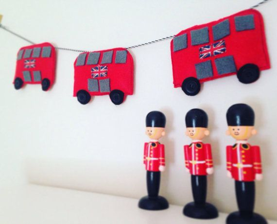 Three red felt London buses complete with button wheels by ...