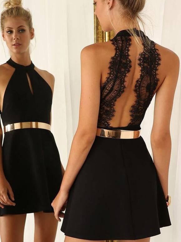 Verkauf Einzelhändler 84454 d82ae Abendkleid Kurz Schwarz A-Linie/Princess-Stil Neckholder ...