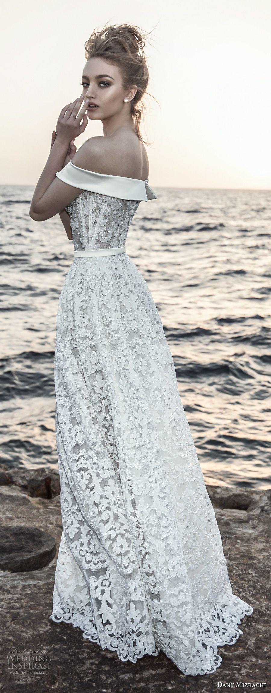 Dany mizrachi bridal off the shoulder straight across neckline