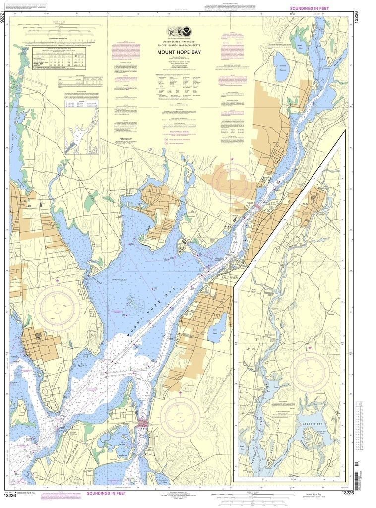 NOAA Nautical Chart 13226 Mount Hope Bay Products Pinterest