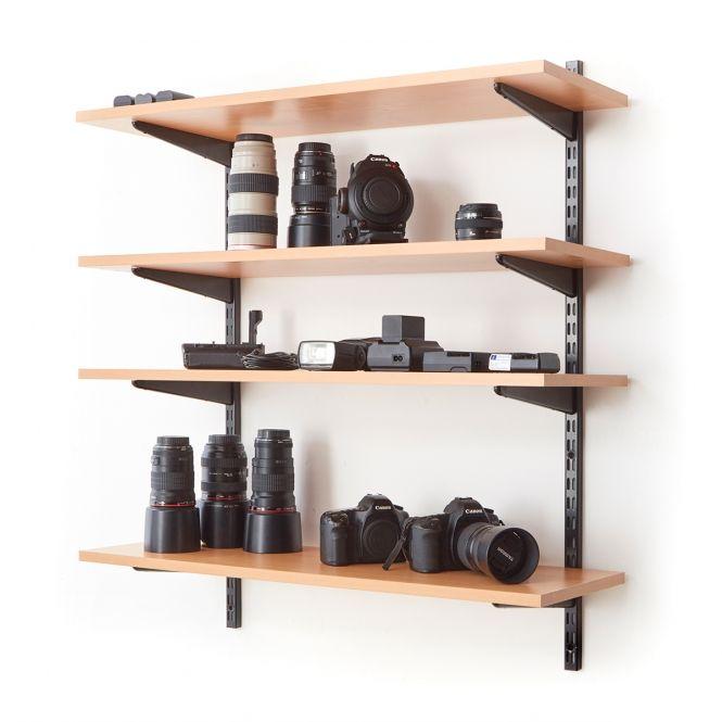 Office Wall Mounted Shelving Kits In Black 900mm Wide Beech Shelves