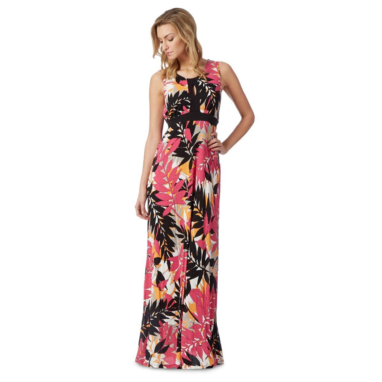 Black dress debenhams - The Collection Black And Pink Leaf Print Maxi Dress At Debenhams Com