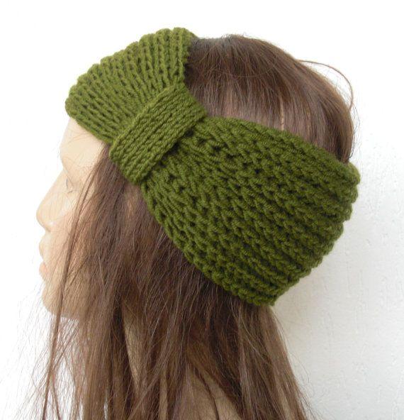 Hand Knit  Headband  Knit Turban Headband  Vintage Look  by Ebruk, $19.00