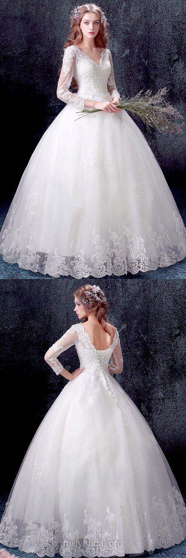 Prettiest Ball Gown Wedding Dresses, V-neck Wedding Dresses, Tulle ...