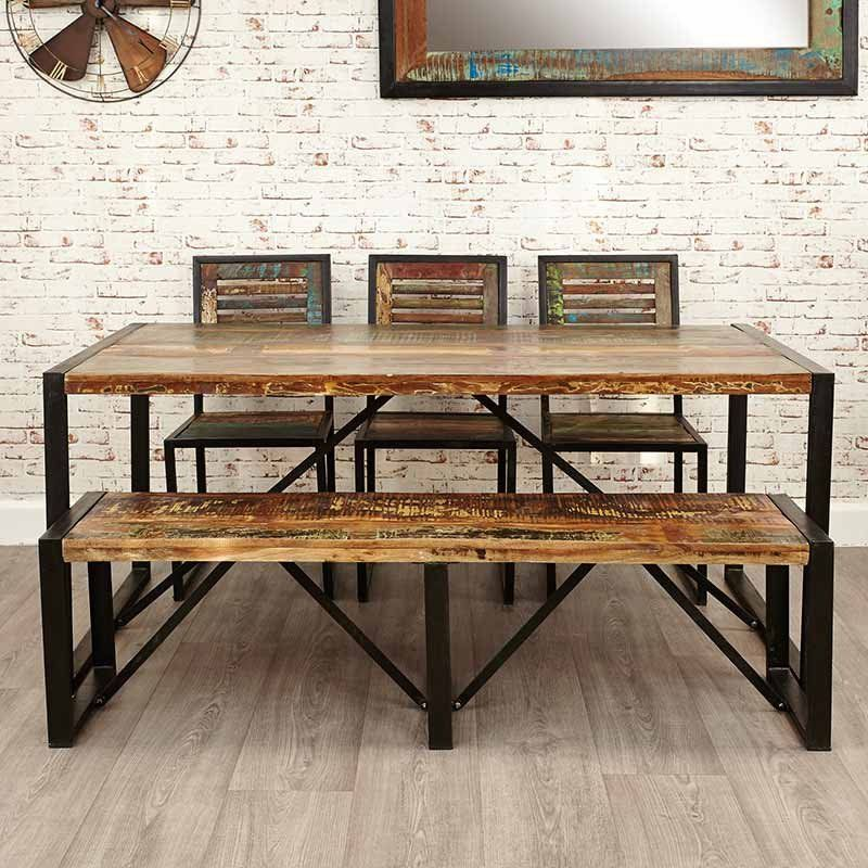 Reclaimed Wood Large Dining Bench