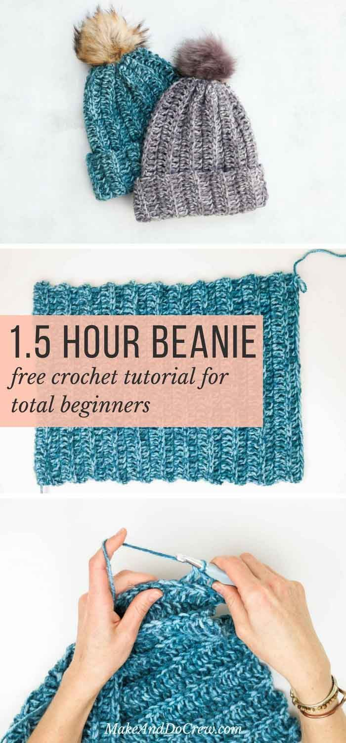 One Hour Free Crochet Hat Pattern for Beginners (+ Tutorial) | Free ...