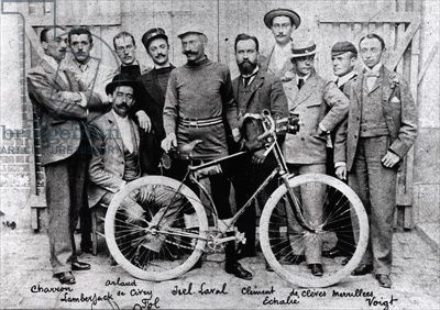 The Racing cyclist Jiel-Laval with his bicycle 'Clement', 2nd in the race Paris-Brest, 1891 (b/w photo)