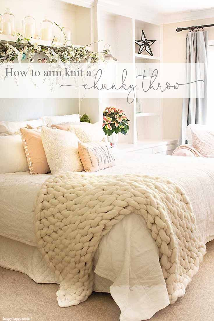 Arm knit a chunky throw in about 90 minutes. All you need is yarn and your arms and you can make this beautiful 100% wool blanket. Crafts | Arm Knit Blanket | Wool Blankets | Arm Knitting | DIY Projects | Knitting