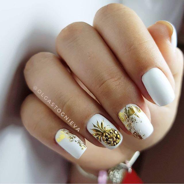 Cute White And Gold Nail Art Nailart Manicura De Unas Unas De Gel Blancas Arte De Unas Blanco