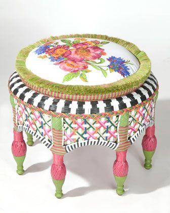 """""""Flower Market"""" Ottoman - Neiman Marcus - I'm in love with the colors & style of this ottoman...everyone loves & needs a little bit of MacKenzie-Childs in their life..."""