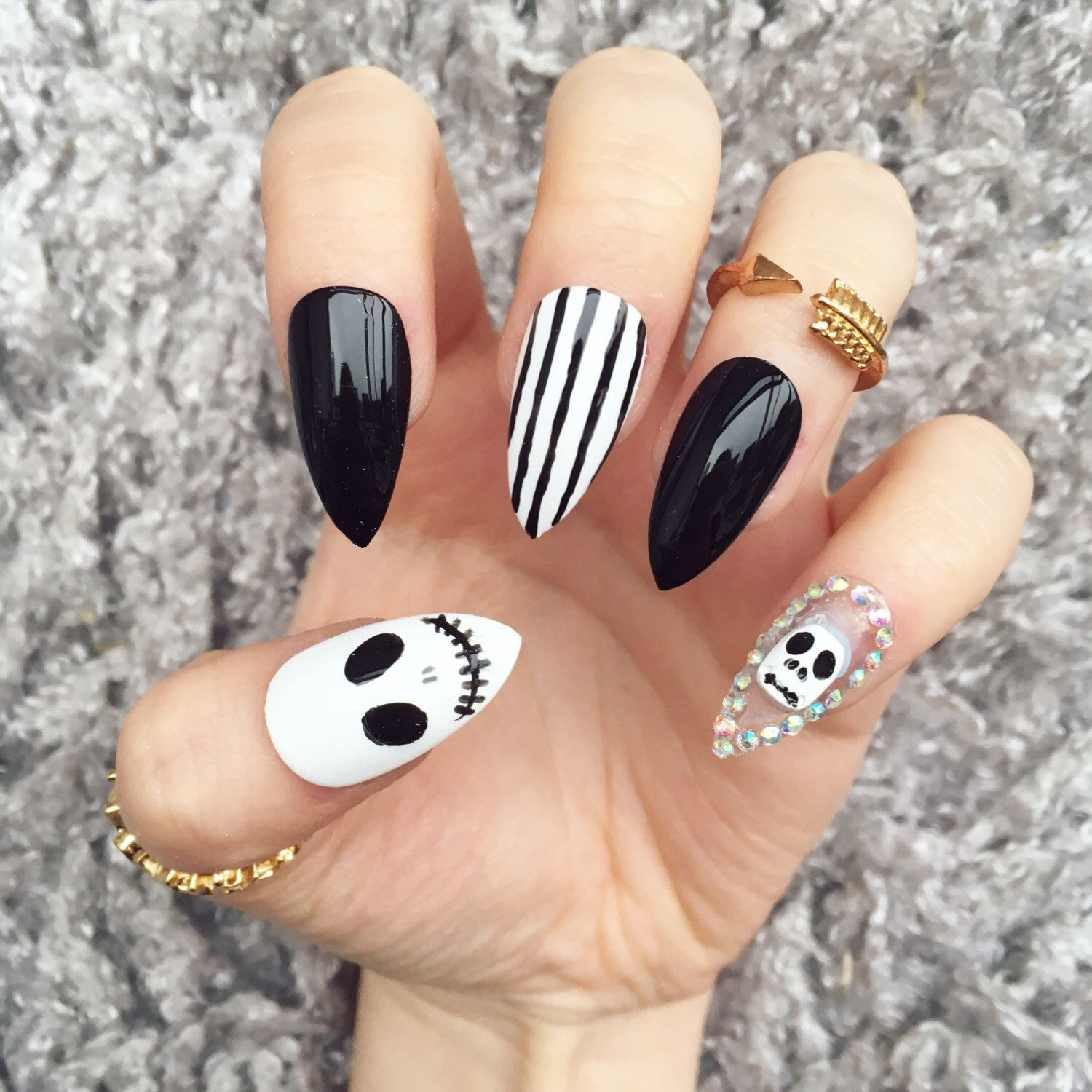 NAILED IT! Hand Painted False Nails , Nightmare Before