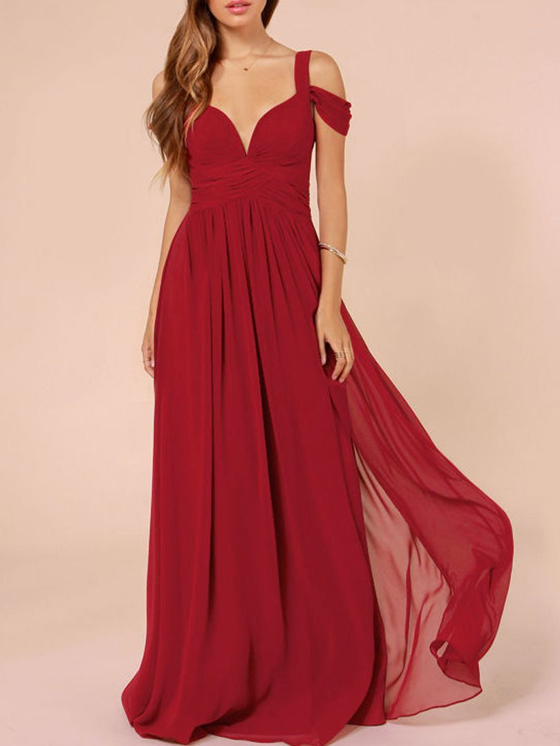 Cold Shoulder Split Maxi Prom Dress in Red | Choies | Pretty Clothes ...