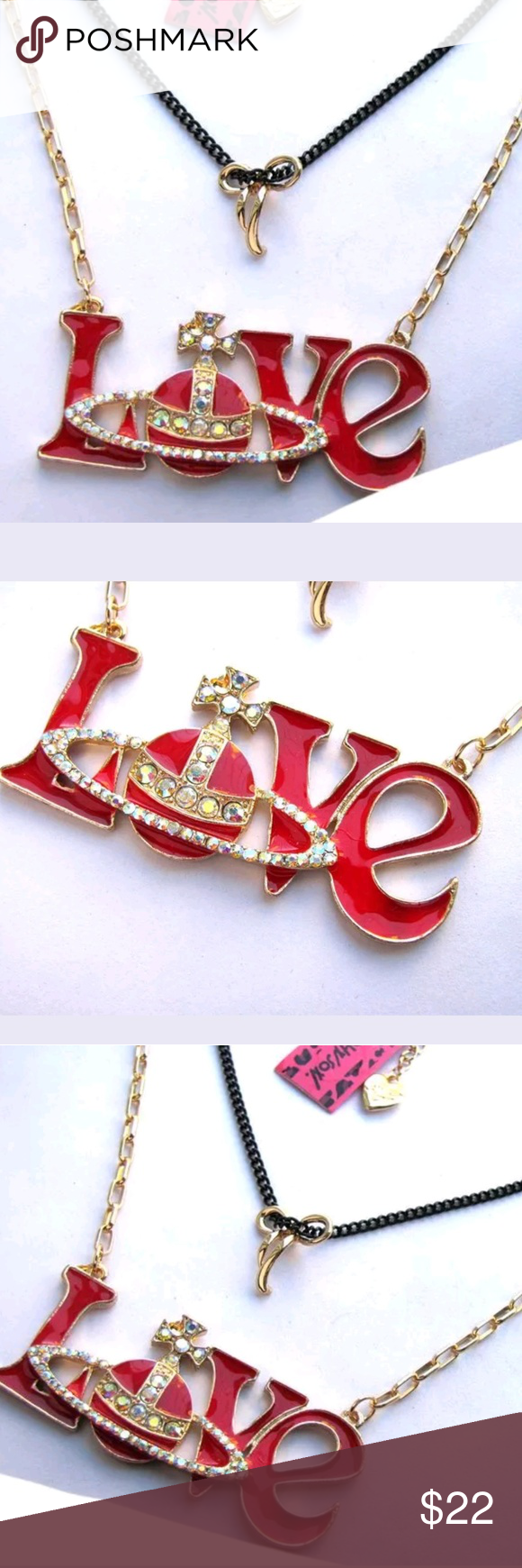 99cc3aedf Betsey Johnson Bright Crystal Red Enamel Love Pend Brand New with tags  chain length is about is 28 inches with a extender for additional 3  inches... Pendant ...