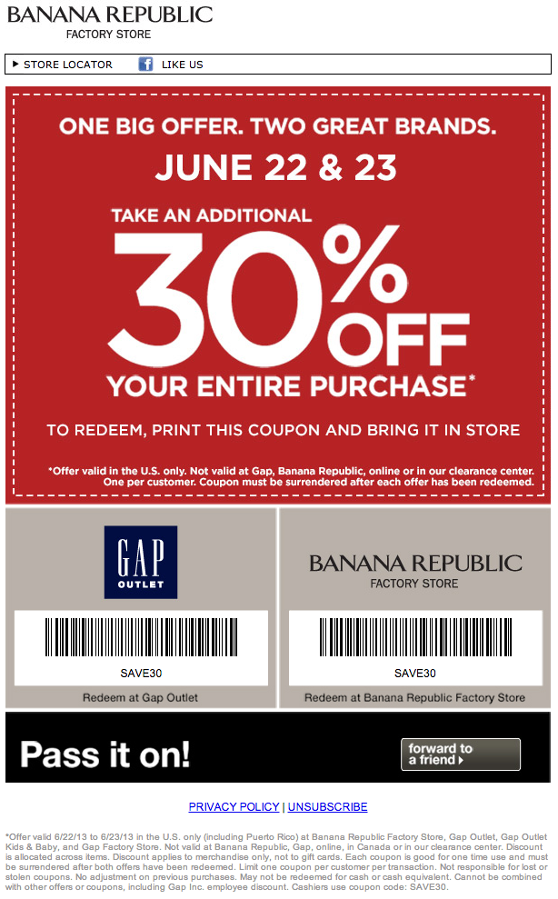30 Off Gap Outlet Banana Republic Factory Printable Coupon Printable Coupons Coupons Email Marketing Design