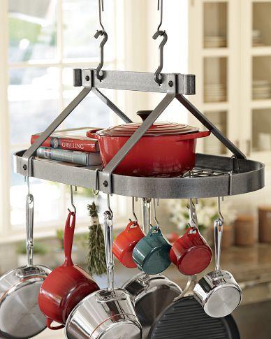 Heavy-gauge pot rack full of wonderful cookware