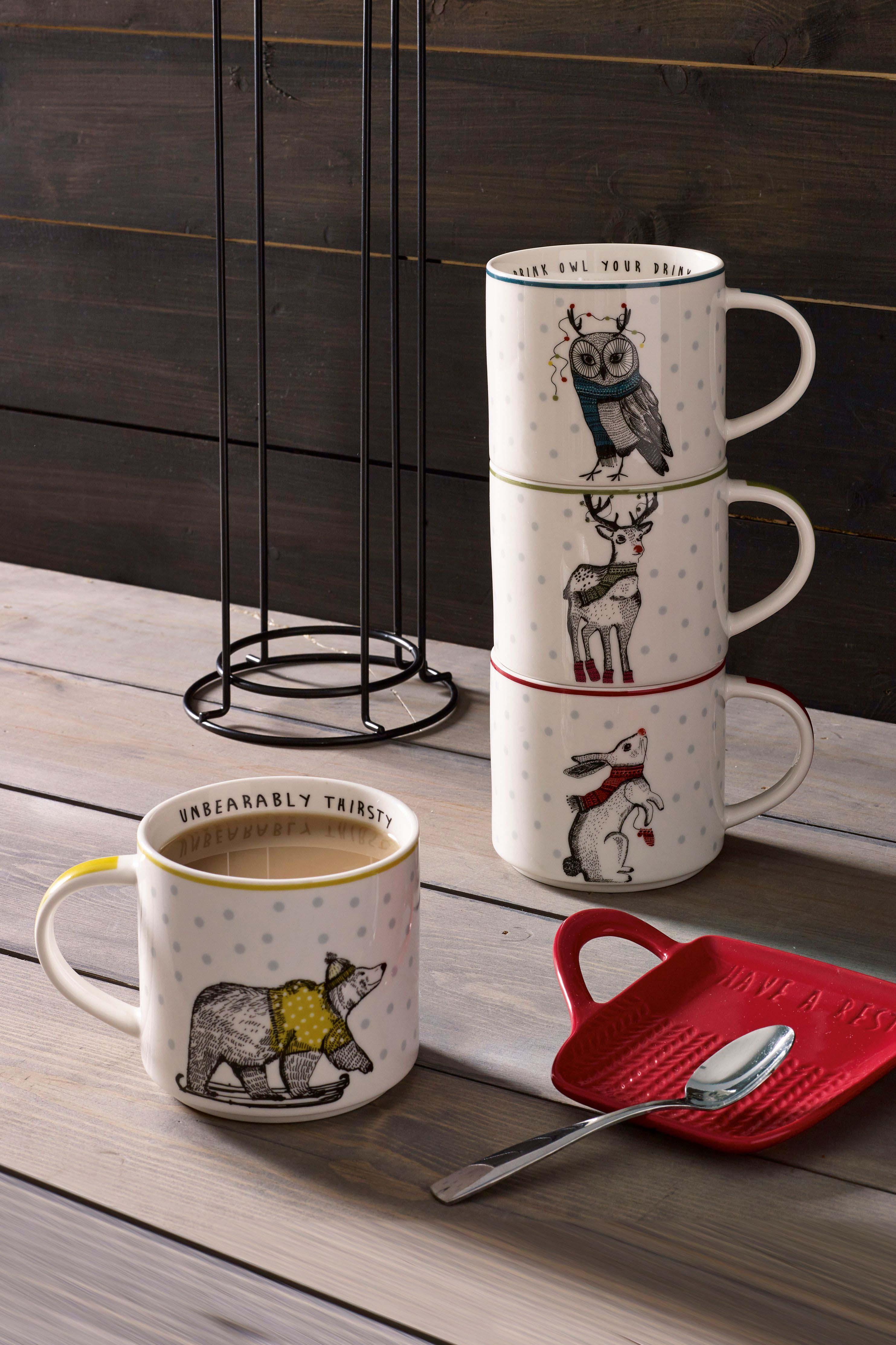 Next Set of 4 Animal Stacking Mugs White Mugs, Animal