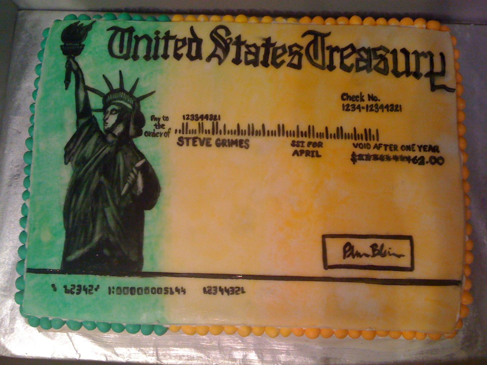 Happy 66th Birthday To Me Now THATs A Cake Social Security Check