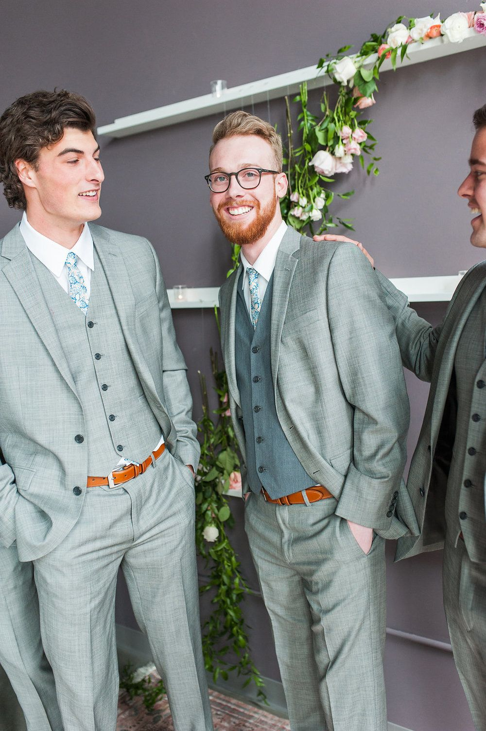 Groomsmen picture ideas, grey suit, patterned tie ideas, floral ...